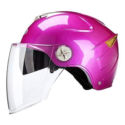 ZXW Casco- Casco eléctrico de la Motocicleta Hombres y Mujeres luz Verano Media Cobertura Cuatro