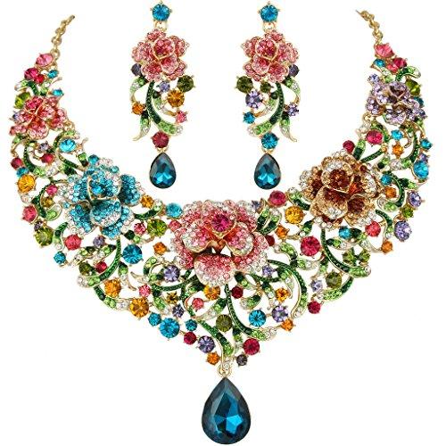 EVER FAITH Women's Crystal Enamel Rose Flower Vine Tear Drop Necklace Earrings Set Multicolor Gold-Tone