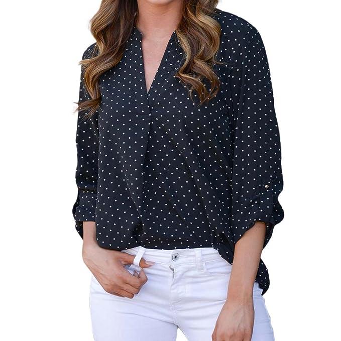 de63089955b4e kingfansion Women Loose Button Trim Blouse Polka Dot Top Long Sleeve Tunic  T-Shirt  Amazon.ca  Clothing   Accessories