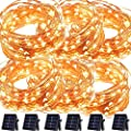 Solar String Lights 100 LED Copper Wire Starry Fairy Twinkle Lights Outdoor Waterproof Decor for Patio Garden Tree Yard Party Holiday Ambiance Wedding xmas/Warm White