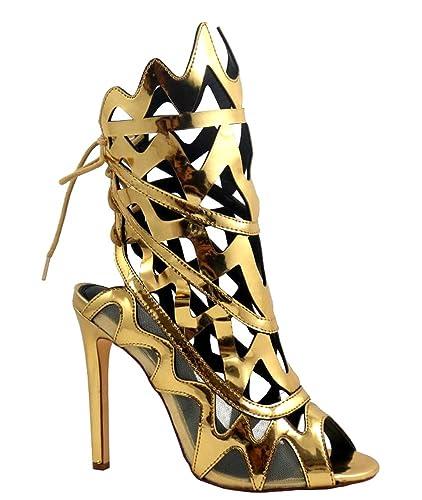 Mirror Metallic Geometric cut-out Heels Open toe Lace up Women's shoes Nikia-32