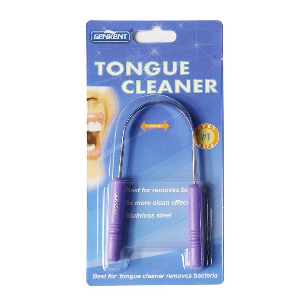 genkent limpiador de lengua rascador acero inoxidable Sabor Enhancer aliento fresco. Color morado: Amazon.es: Salud y cuidado personal