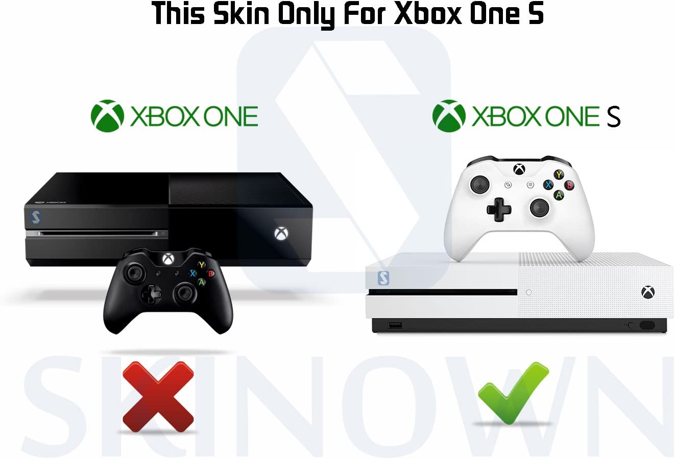 Golden SKINOWN Skin Sticker for Microsoft Xbox One S Slim Console and 2 Controller