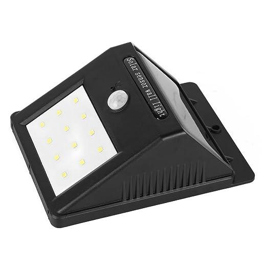 Sensor de luz solar eDealMax Movimiento, 80 lúmenes 12 LED a prueba de agua de la energía solar Seguridad Luces de la noche, la pared del jardín Spotlight ...