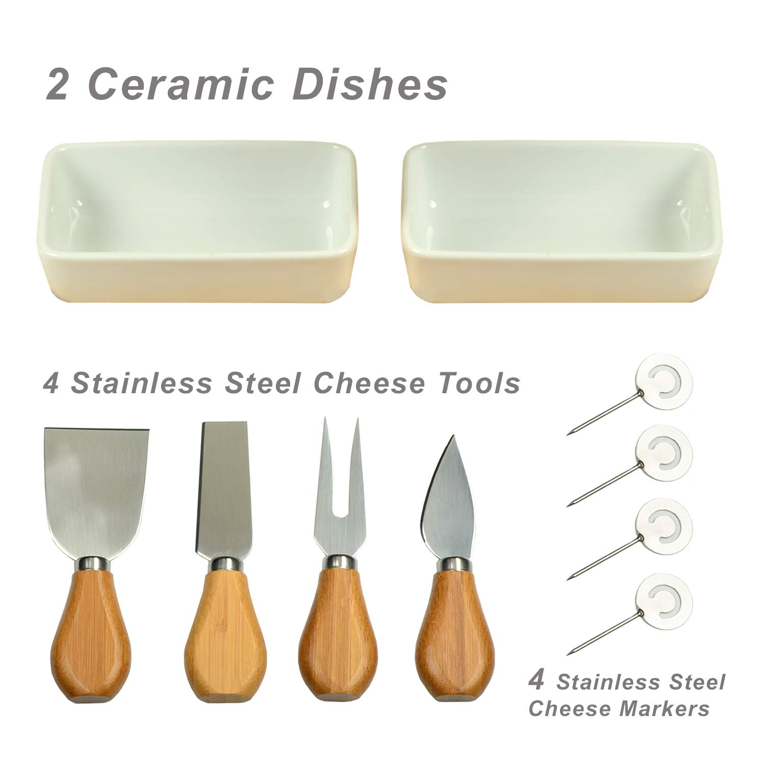 Cheese Tools /& Cheese Markers-Designed /& Quality Checked in USA Picnic at Ascot Original Bamboo Cheese//Charcuterie Board with Ceramic Bowls