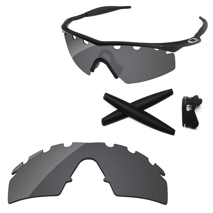 e93d1e16682b7 PapaViva Lenses Replacement   Rubber Kits for Oakley M Frame Strike Vented  Black Grey