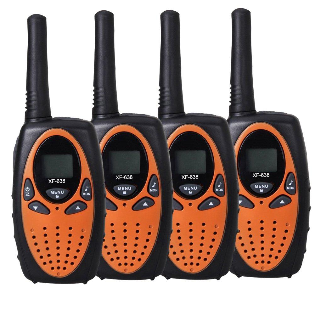YEOOM Handheld Kids Walkie Talkies 22 Channel 0.5W FRS/GMRS 2 Way Radios Long Range Outdoor(Orange, Pack of 4)