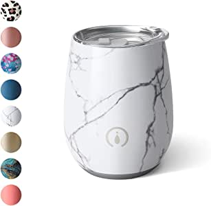 Swig Life Bar Collection Stainless Steel 14oz Stemless Wine Cup with Spill Resistant Slider Lid and Reusable Straw in Marble Slab