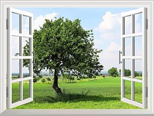 Removable Wall Sticker Wall Mural Spring on the Plains Creative Window View Wall Decor
