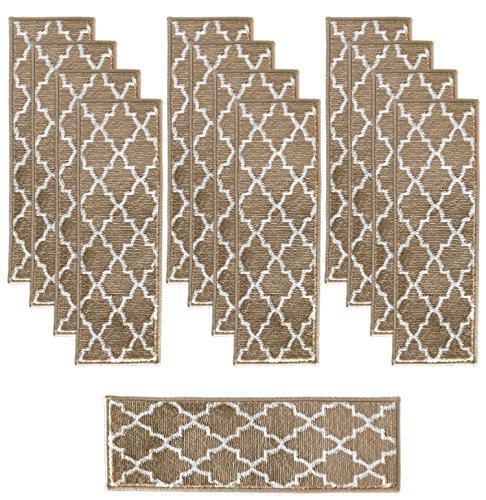 Sultansville Trellisville Collection Trellis Design Vibrant and Soft Stair Treads, Beige, Pack of 13