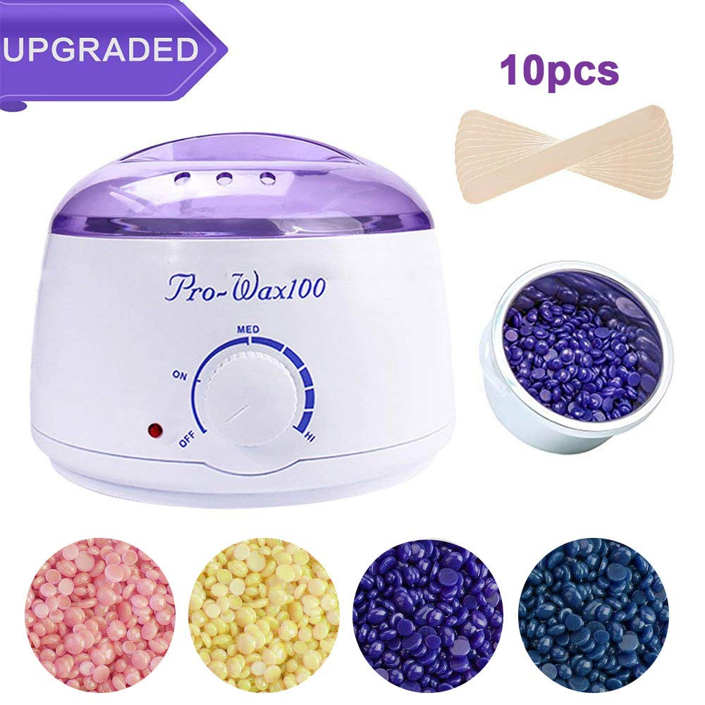 Purple Wax Warmer, Hair Removal Waxing Kit Electric Hot Wax Heater W/ 4 Hard Wax Beans and Wax Applicator Sticks- Visible Purple Lid Seeutek