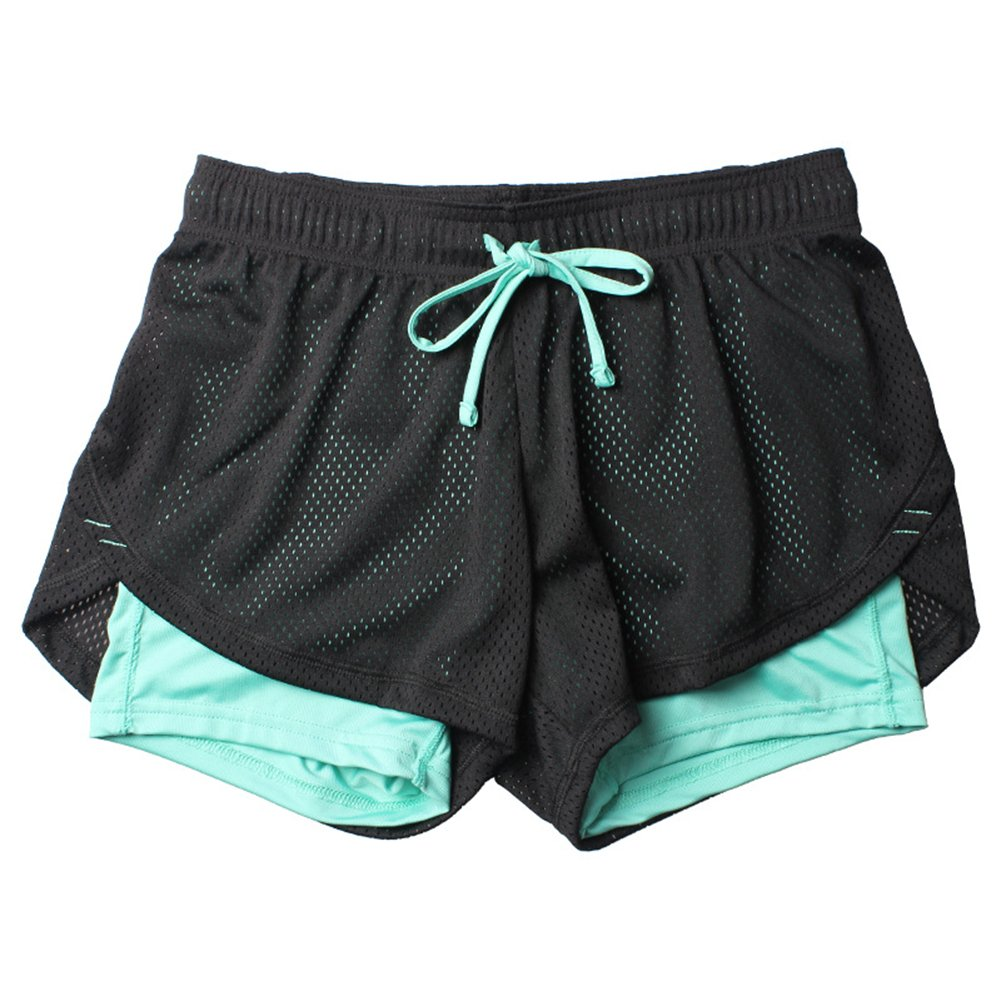 Homieco Damen 2-In-1 Mesh Perforated Sport Shorts Gym Yoga Trainingsshorts Atmungsaktiv Laufshorts Fitness Running Hot Pants