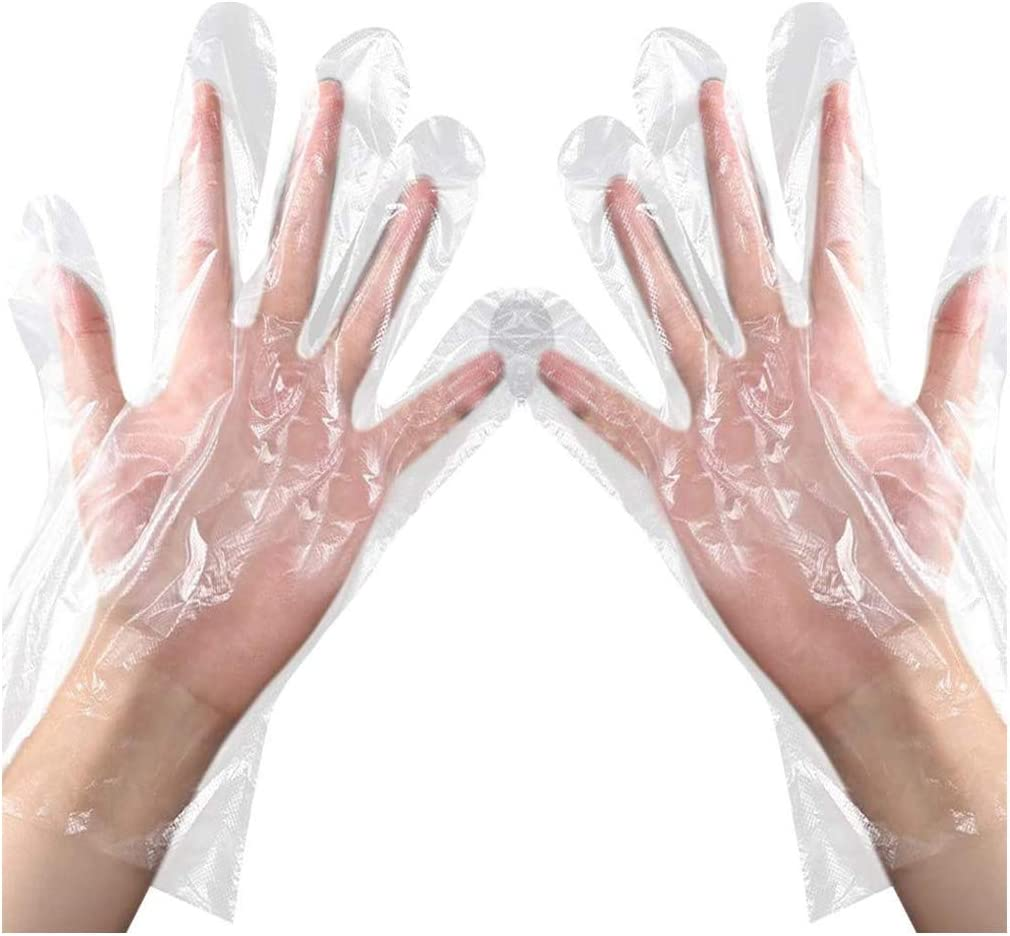 200 Pcs Disposable Clear Plastic Gloves, Disposable Food Prep Gloves for Cooking Cleaning Safety Food Handling