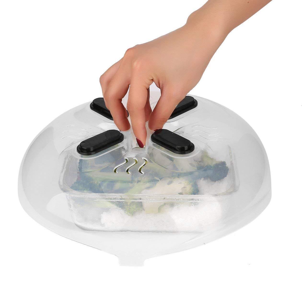 Pratico magnete per alimenti Protezione antispruzzo Microonde Hover Copertura antispruzzo Sfiati di vapore Coperchio per schizzi domestici Resistente al calore colore: trasparente
