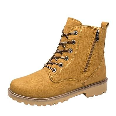 Zarupeng Los Hombres del Tobillo Bajo Recortar el Tobillo Plano Botas de Otoño Invierno Casual Martin Shoes (42, Amarillo)