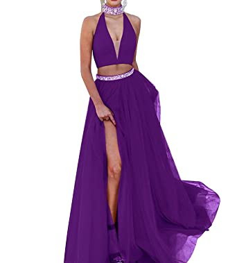 Womens Halter Beaded Crystal Mermaid Prom Dresses Two Piece Long Slit Evening Gowns Purple US2