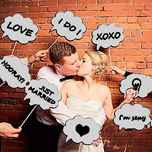 Speech Bubble (Wedding Photo Booth Props, Dry Erase Bubble Speech Photo Booth Props Attached to the stick, Wedding decorations, Birthday party photo props, 4E's Novelty®)