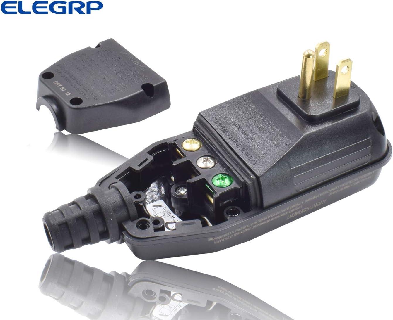 ELEGRP G1215CA Auto Reset Inline GFCI  Plug Assembly 15 Amp 3 Wires 3-Prongs NEM