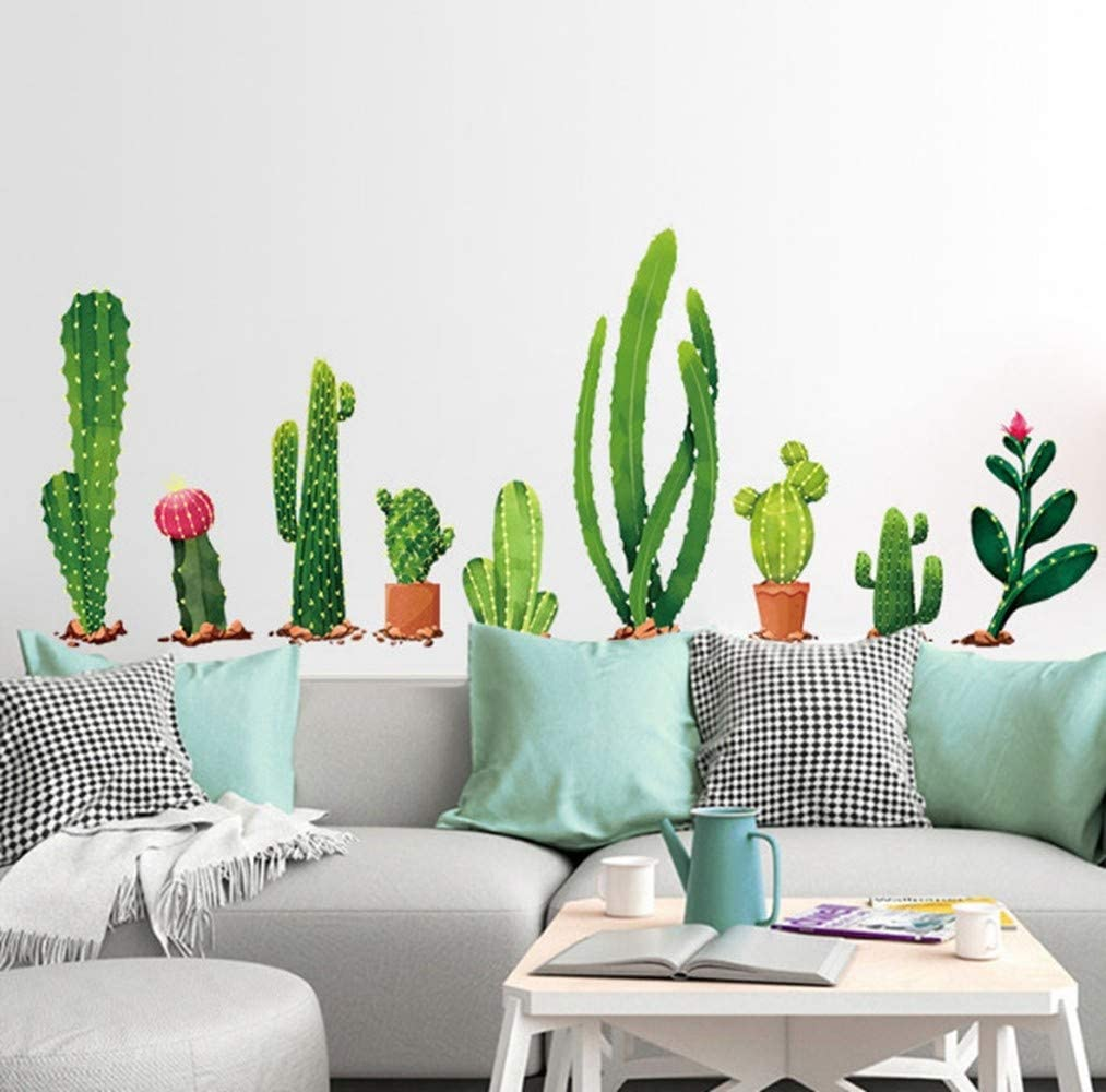 Zbyll Wall Stickers Cactus Bedroom Living Room Tv Sofa Decoration Window Wardrobe Stickers Amazon Co Uk Kitchen Home