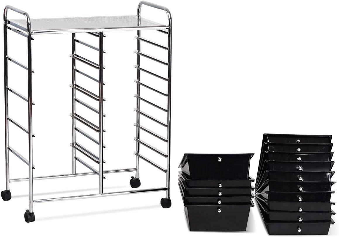 Giantex 15 Drawer Rolling Storage Cart Tools Scrapbook Paper Office School Organizer, Black: Home Improvement