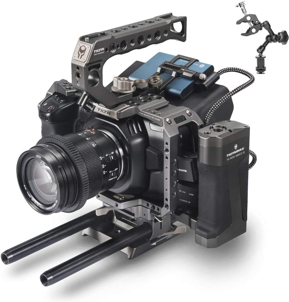 TILTA BMPCC 4K/6K Camera cage/case Blackmagic Pocket Cinema Camera 4K TA-T01-A-G Tactical Package KIT for Blackmagic Cinema Camera - Tilta Grey