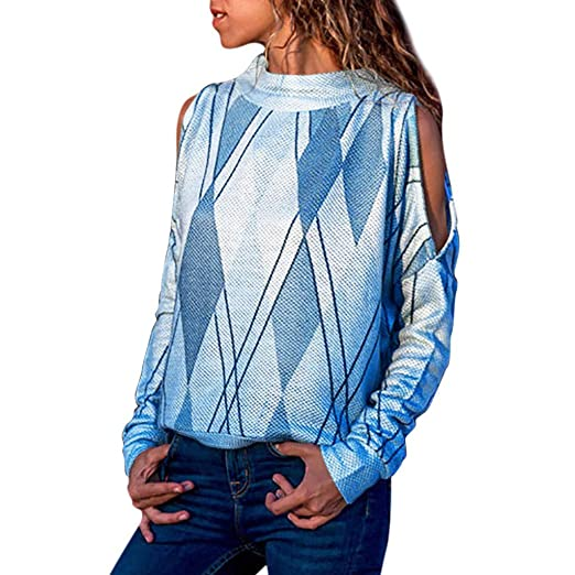4acd124759 Amazon.com  Dimanul Fashion Women s Printed Long Sleeve Blouse Fall Pullover  Loose Knit Blouse Tops Cold Shoulder  Clothing