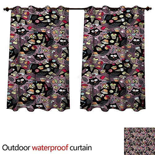 - WilliamsDecor Owls Outdoor Curtain for Patio Crazy Owls and Tasty Delicious Sweets Cupcakes Ice Cream Candy and Abstract Leaves W72 x L63(183cm x 160cm)
