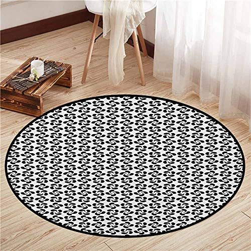 Non-Slip Round Rugs,Pinwheel,Flower Leaves Shaped Wind Wheels in Modern Tones Classic Artistic Pattern,Sofa Coffee Table Mat,3'7