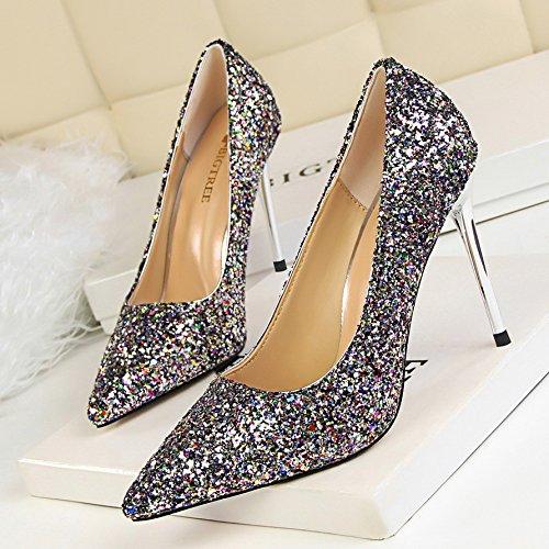 los lado tac expuestos Xue nupcial Zapatos Zapatos de bodas de de oro de Qiqi plata zapatos S07xHwqU