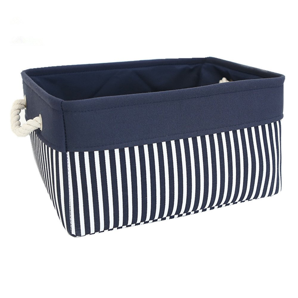 TcaFmac Small Nautical Basket Decorative Fabric Storage Basket Bin, Collapsible Canvas Toy Storage Organizer with Rope Handles for Shelves,Baby Blue Nursery Laundry Basket 12(L) x 8(W) x 5(H) inches