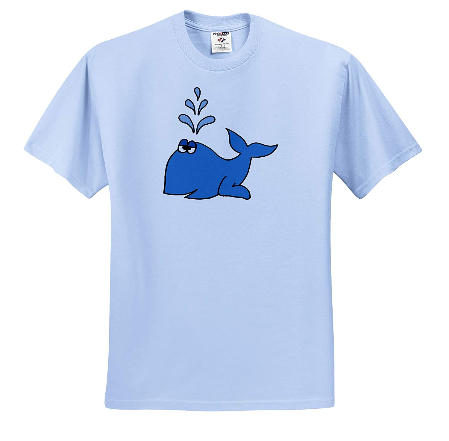 Adult T-Shirt XL at The Beach ts/_317694 3dRose All Smiles Art Funny Cute Blue Whale with Fun Spout Cartoon