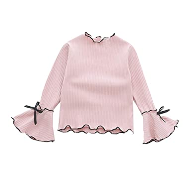 1a902b8e LENGIMA Toddler Baby Girl Knit Ruffled Long Sleeve Bow T-Shirt Cotton Solid  Top: Amazon.co.uk: Clothing