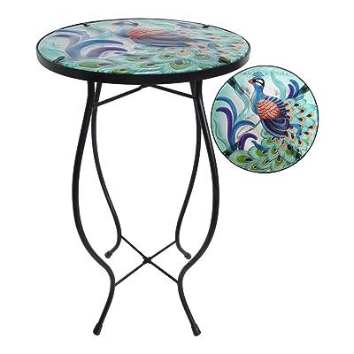 """Comfy Hour 21"""" Blue Peacock Glass Top Metal Art Flowerpot Holder Plant Support Flower Stand, Garden and Home : Garden & Outdoor"""