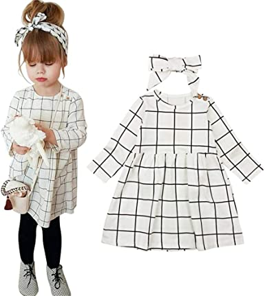 2Pcs Toddler Baby Girls Plaid Suspender Skirt Bow Headband Princess Party Casual Outfits