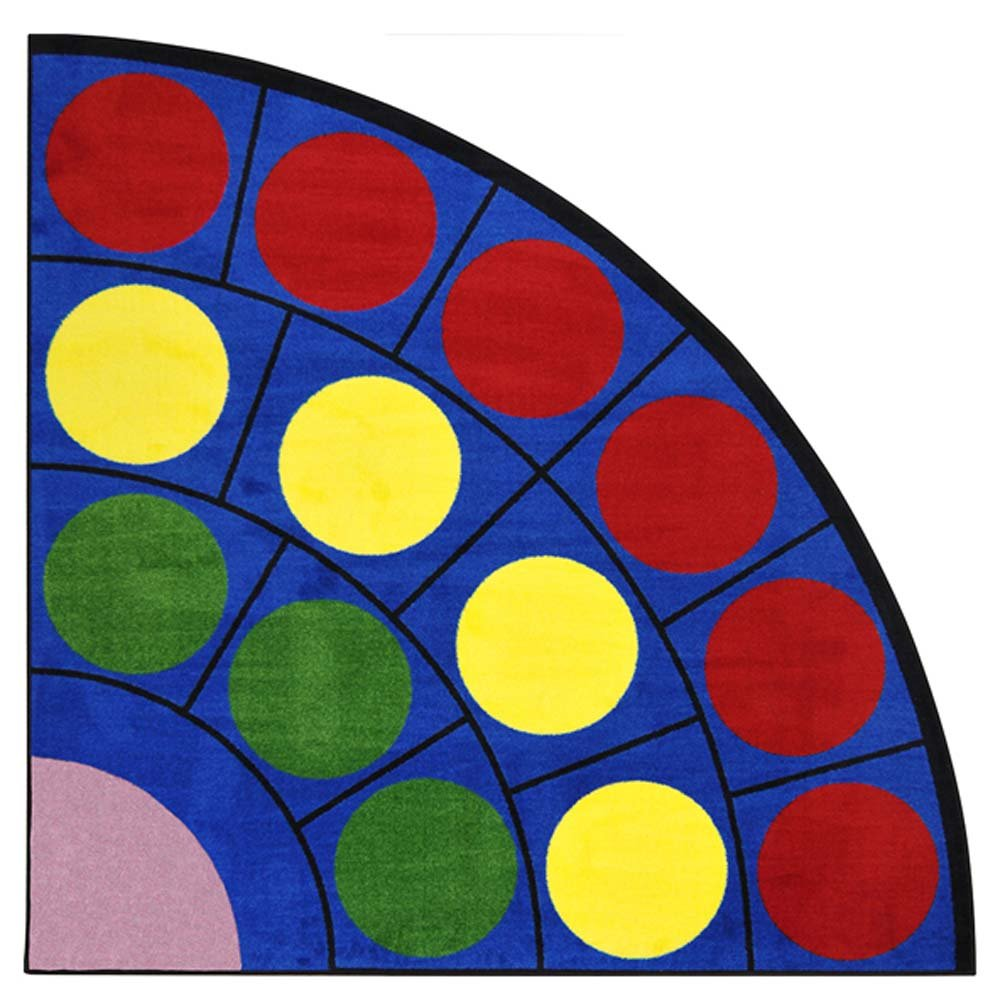 Joy Carpets Kid Essentials Early Childhood Quarter Round Lots of Dots Rug, Multicolored, 6'7''