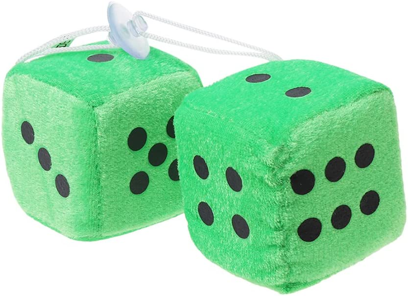 goodluccoy 1 Pair Fuzzy Dice Dots Rear View Mirror Hanger Decoration Car Styling Accessorie