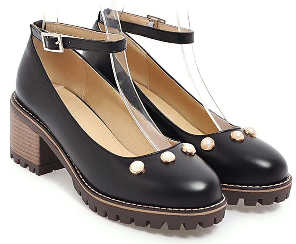 IDIFU Womens Sweet Pearl Round Toe Low Top Mid Block Heeled Office Pumps Shoes with Ankle Strap
