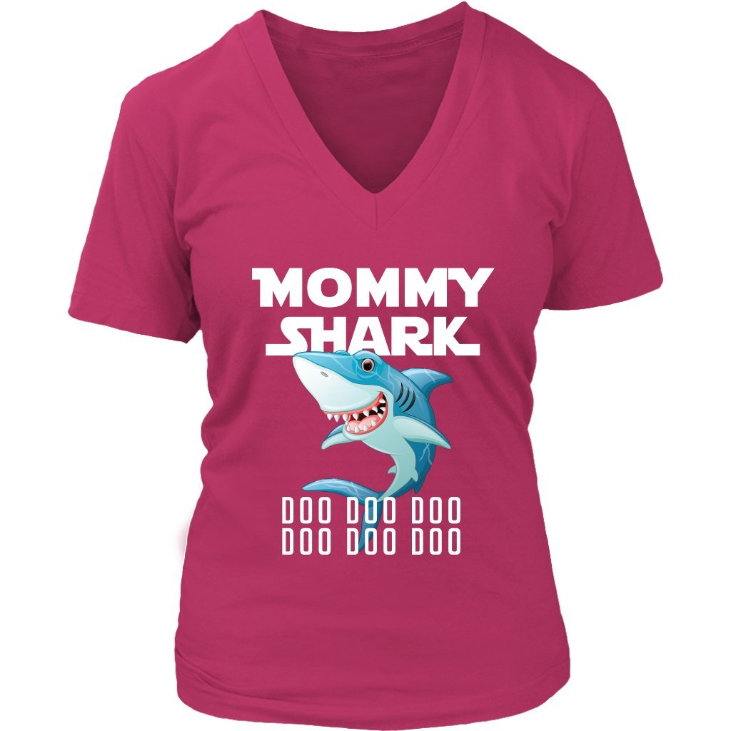 98410616cf8 Official VnSupertramp Mommy Shark Women V-Neck Shirt Plus Size XL-4XL Mom  Gift