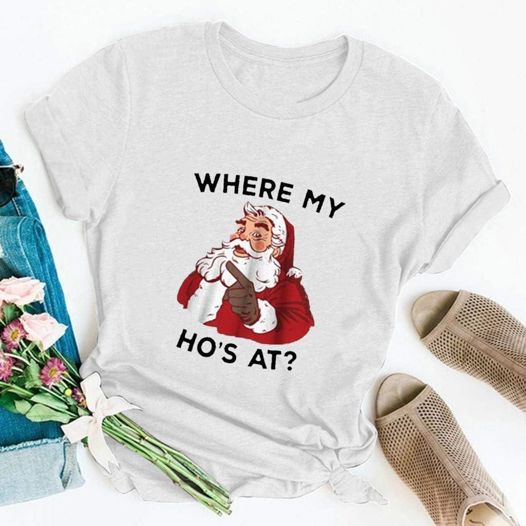 VJGOAL Donna 2019 Nuovo Natale T-Shirt con Stampa La Migliore Decorazione Natalizia per Festa di Natale Babbo Natale Regalo di Natale
