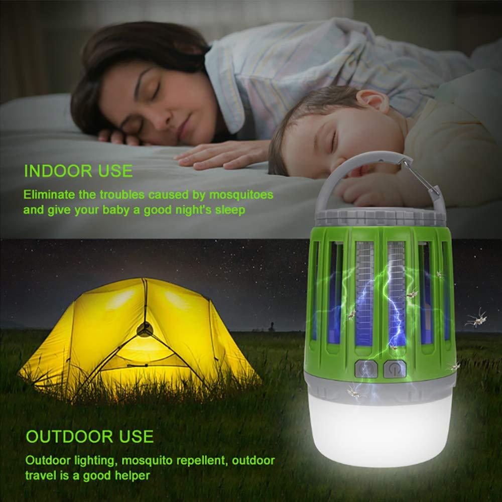 2 in 1 Camping Lantern IPX4 wasserdicht tragbar M/ückenvernichter Zeltlampe USB Wiederaufladbar f/ür Innen und Au/ßen Gr/ün Bosunny UV Insektenvernichter USB elektrisch M/ückenfalle