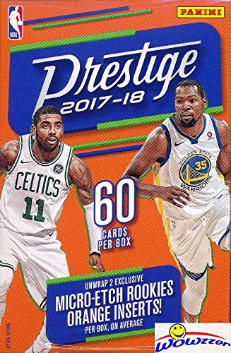 2017/18 Panini Prestige NBA Basketball HUGE 60 Card Factory Sealed HANGER Box with (2) Micro-Etch ROOKIES! Look for RC's & AUTOGRAPHS of Donovan Mitchell, Jayson Tatum, Lonzo Ball & More! WOWZZER!