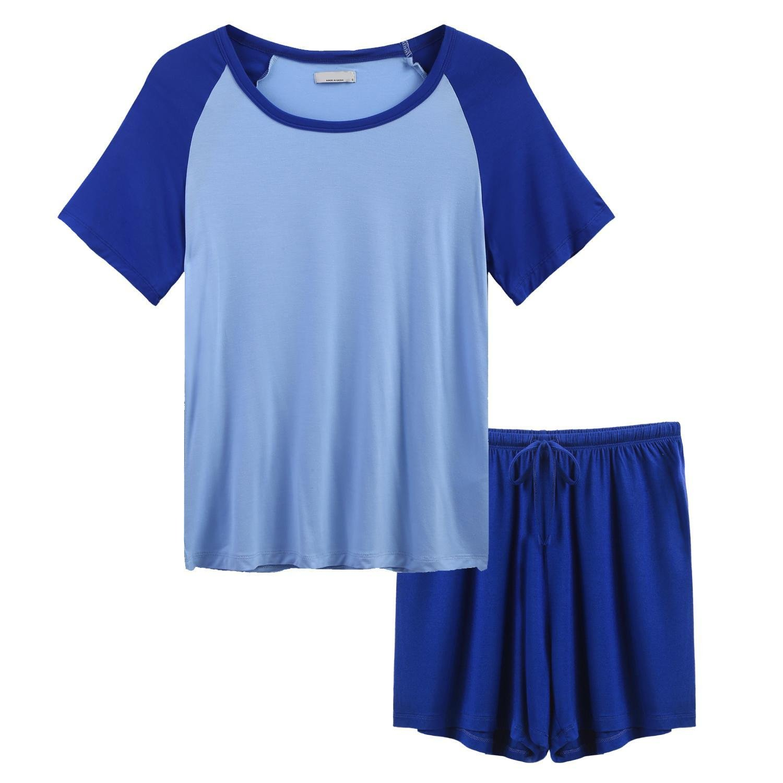 bluee3 Vansop Women Pj Set Short Sleeve Top and Striped Pajama Pants Sleepwear SXXL