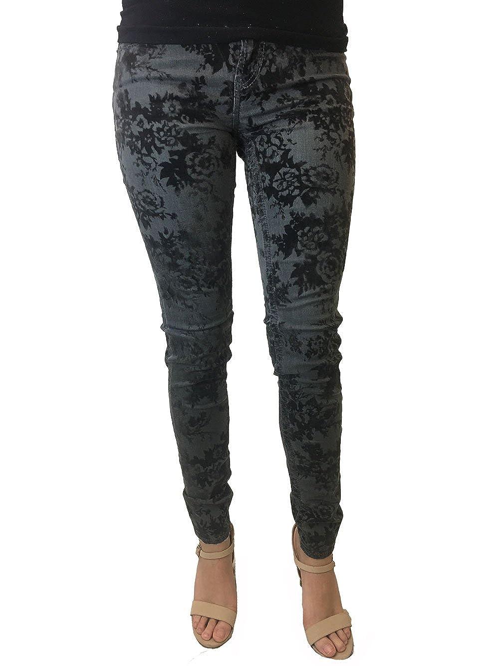 DEAR JOHN Womens Joyrich Taylor Smoke Faux Velvet Floral Printed Skinny Jeans