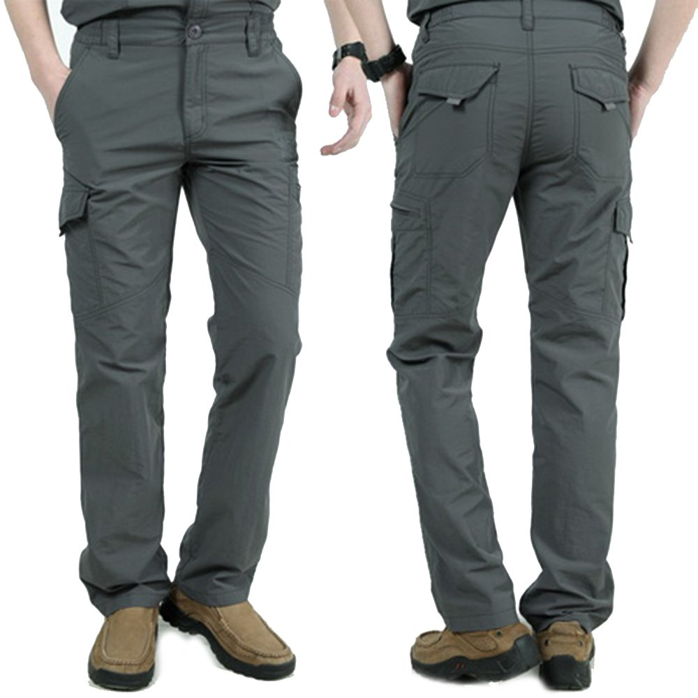 LOG SWIT Mens Military Style Cargo Pants Men Summer Breathable Trousers Joggers Army Pockets Pants Gray XL