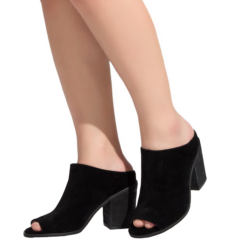 Luoika Women's Wide Width Heel Pump - Mid Block Heel Open Toe Shoes.(Black,180305,Size 10)