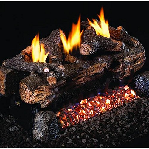 Peterson Real Fyre 24-inch Evening Fyre Split See-thru Log Set With Vent-free Natural Gas Ansi Certified G18 Burner - Basic On/Off Remote ()