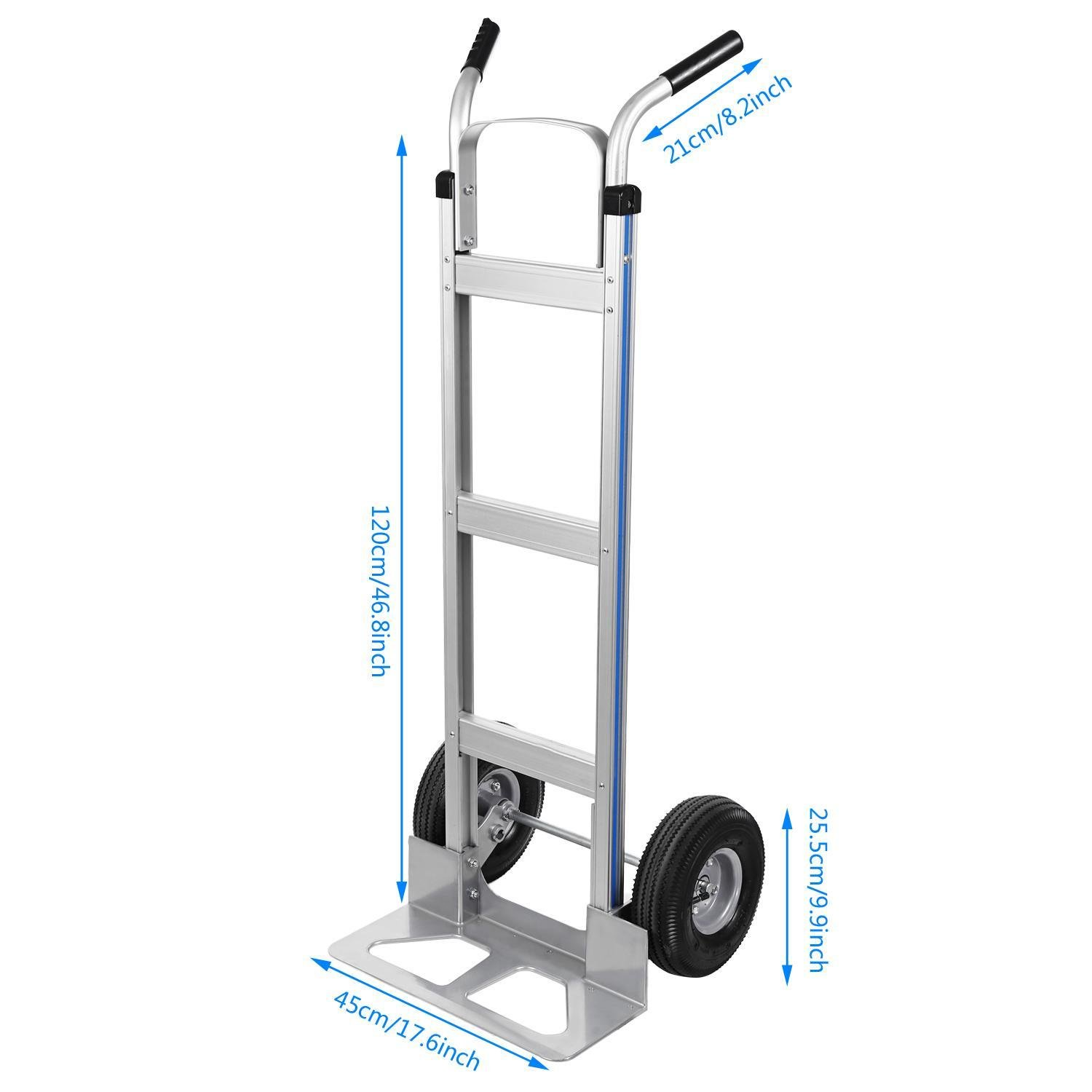 Ferty Aluminum Hand Trucks 500LBS With 2 Pneumatic Tires Dolly, Double Pistol Grip Handle Heavy Duty Trolley/Cart With 2 Wrench by Ferty (Image #5)