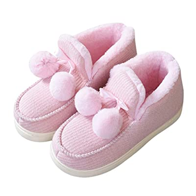 Baviue Womens Memory Foam Fuzzy House Outdoor Boot Bootie Slippers Pink 8-8.5 B(M) US | Slippers