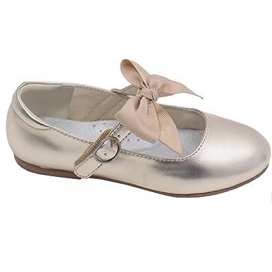 a1a7d702f4181 L Amour Little Big Girls Gold Grosgrain Bow Flats Dress Shoes 1 Kids