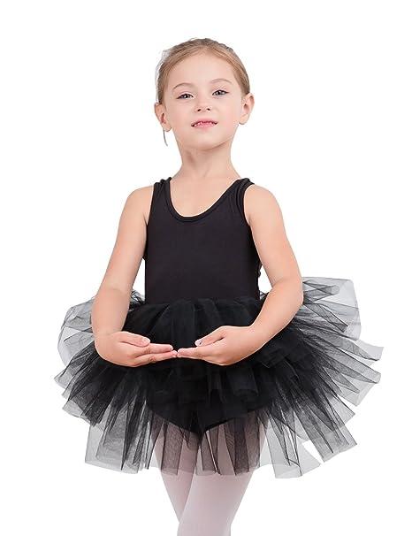 18a2dbee91ba Amazon.com  Girls  Camisole Dance Tutu Leotard With Fluffy 4-Layers ...